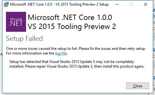 NET Core Error